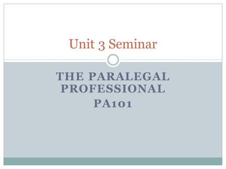 THE PARALEGAL PROFESSIONAL PA101 Unit 3 Seminar. Discussion Board Tips Most units have more than 1 DB assignment - posting to each DB assignment is required.