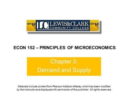 Macroeconomics: Supply, Demand and Elasticity