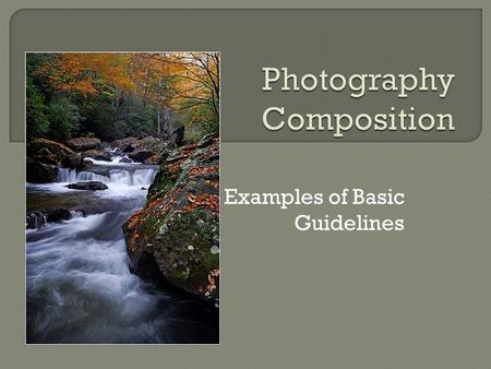 Examples of Basic Guidelines. Composition is defined as the combining of distinct parts or elements to form a whole. In photography that definition is.