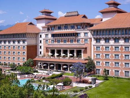 Hyatt Regency Kathmandu. Hyatt Regency Kathmandu is a premier urban resort hotel situated six kilometres from the city centre of Kathmandu and is only.