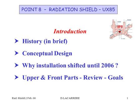 Rad. Shield 2 Feb. 06D.LACARRERE1 IP8 POINT 8 – RADIATION SHIELD – UX85 Introduction  History (in brief)  Conceptual Design  Why installation shifted.