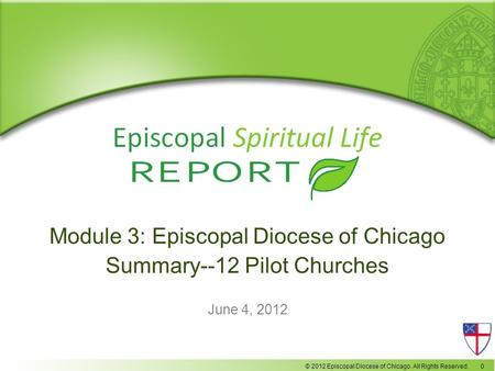 © 2012 Episcopal Diocese of Chicago. All Rights Reserved. 0 Module 3: Episcopal Diocese of Chicago Summary--12 Pilot Churches June 4, 2012.