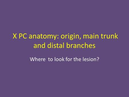 X PC anatomy: origin, main trunk and distal branches Where to look for the lesion?