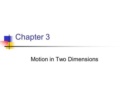 Chapter 3 Motion in Two Dimensions. Position and Displacement The position of an object is described by its position vector, The displacement of the object.