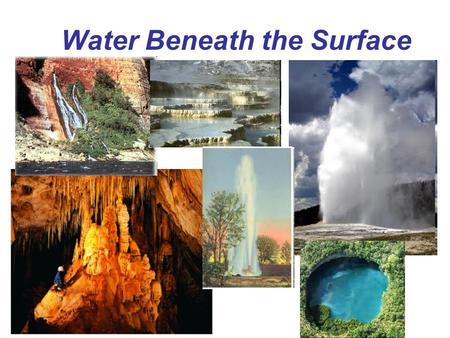 Water Beneath the Surface. Vocabulary Zone of saturation Groundwater Water table Porosity Permeability Aquifer Aquitard Spring Geyser Well Cone of depression.
