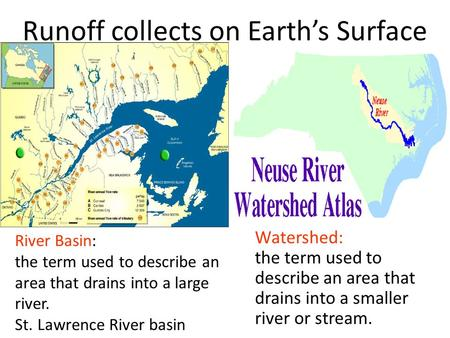 Runoff collects on Earth's Surface River Basin: the term used to describe an area that drains into a large river. St. Lawrence River basin Watershed: