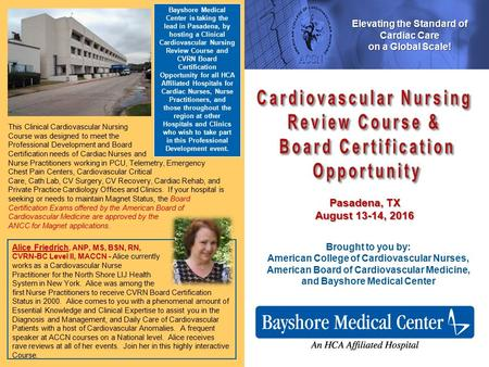 Cardiovascular Nursing Review Course & Board Certification Opportunity