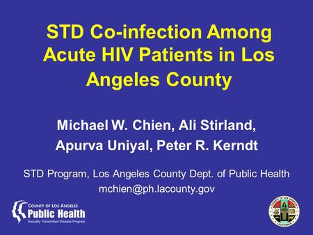 STD Co-infection Among Acute HIV Patients in Los Angeles County