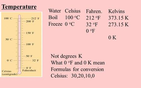 Temperature Water Boil Freeze Celsius 100 o C 0 o C Fahren. 212 o F 32 o F 0 o F Kelvins 373.15 K 273.15 K 0 K Not degrees K What 0 o F and 0 K mean Formulas.