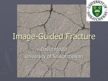 Image-Guided Fracture David Mould University of Saskatchewan.