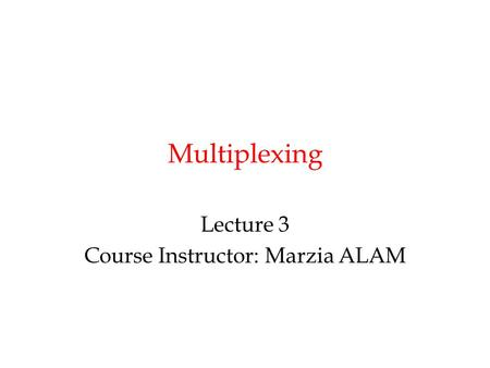 Multiplexing Lecture 3 Course Instructor: Marzia ALAM.