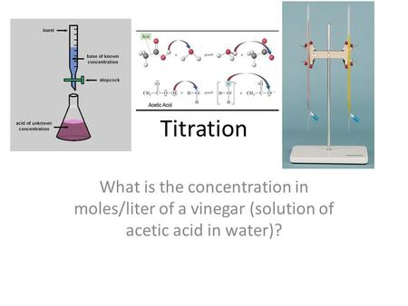 Titration What is the concentration in moles/liter of a vinegar (solution of acetic acid in water)?