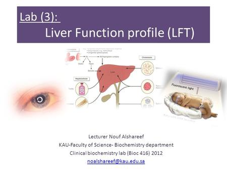 Lab (3): Liver Function profile (LFT) Lecturer Nouf Alshareef KAU-Faculty of Science- Biochemistry department Clinical biochemistry lab (Bioc 416) 2012.