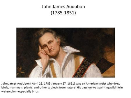 John James Audubon ( April 26, 1785-January 27, 1851) was an American artist who drew birds, mammals, plants, and other subjects from nature. His passion.