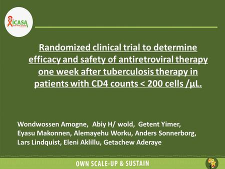 Randomized clinical trial to determine efficacy and safety of antiretroviral therapy one week after tuberculosis therapy in patients with CD4 counts <