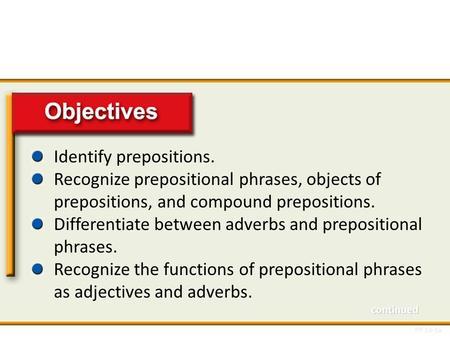 Objectives Identify prepositions.