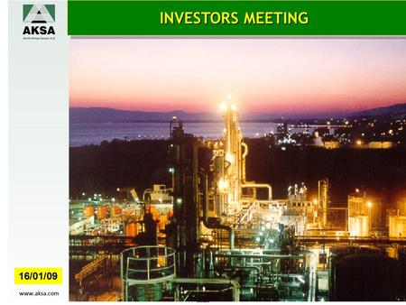 INVESTORS MEETING 16/01/09. AKSA 2007-2012 THE IMPACT OF STRATEGIC PLAN ON THE COMPANY PROFITABILITY 1.