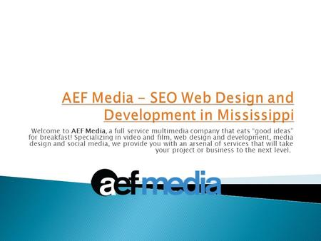 "Welcome to AEF Media, a full service multimedia company that eats ""good ideas"" for breakfast! Specializing in video and film, web design and development,"