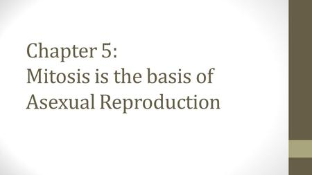 Chapter 5: Mitosis is the basis of Asexual Reproduction.