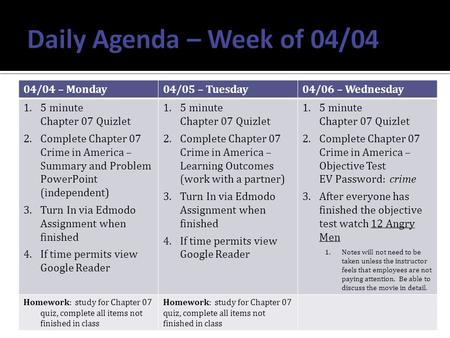 04/04 – Monday04/05 – Tuesday04/06 – Wednesday 1.5 minute Chapter 07 Quizlet 2.Complete Chapter 07 Crime in America – Summary and Problem PowerPoint (independent)