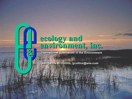Ecology and environment, inc. ecology and environment, inc. International Specialists in the Environment Georganna B. Collins, International.