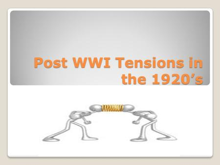 Post WWI Tensions in the 1920's. Economic Tensions Caused by the end of WWI Demobilization ◦No more need for war materials ◦4 million soldiers discharged.