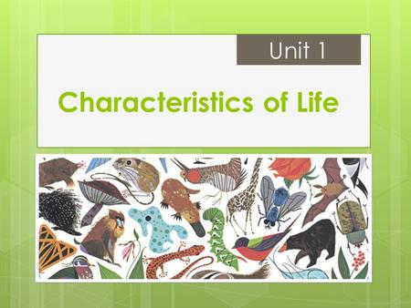 Characteristics of Life Unit 1. What do living things do? #1: Made of one or more cells  Unicellular: organisms consisting of a single cell  Multicellular:
