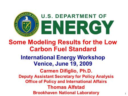 1 Some Modeling Results for the Low Carbon Fuel Standard International Energy Workshop Venice, June 19, 2009 Carmen Difiglio, Ph.D. Deputy Assistant Secretary.