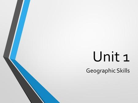 Unit 1 Geographic Skills. Globes and Maps A globe is a scale model of the Earth that presents the most accurate depiction of geographic information.