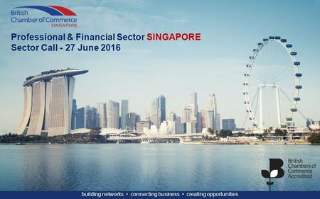 Building networks connecting business creating opportunities Professional & Financial Sector SINGAPORE Sector Call - 27 June 2016.