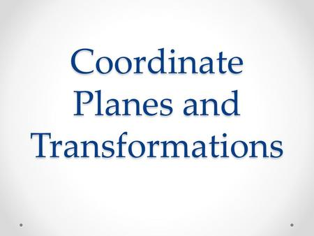 Coordinate Planes and Transformations. Points on the Coordinate Plane The coordinate plane is made up of two number lines that intersect at right angles.