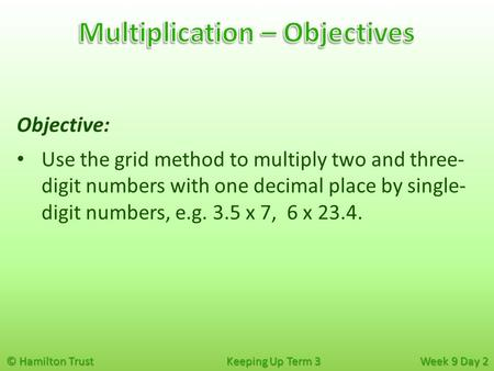 © Hamilton Trust Keeping Up Term 3 Week 9 Day 2 Objective: Use the grid method to multiply two and three- digit numbers with one decimal place by single-