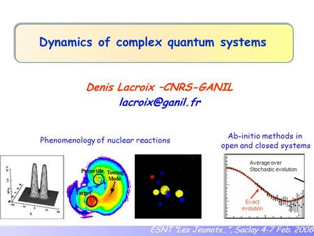 "Dynamics of complex quantum systems Denis Lacroix –CNRS-GANIL ESNT ""Les Jeunots…"", Saclay 4-7 Feb. 2008 Phenomenology of nuclear reactions."