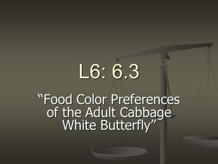 "L6: 6.3 ""Food Color Preferences of the Adult Cabbage White Butterfly"""