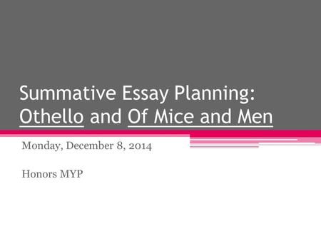 Summative Essay Planning: Othello and Of Mice and Men Monday, December 8, 2014 Honors MYP.