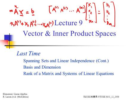 Lecture 9 Vector & Inner Product Spaces Last Time Spanning Sets and Linear Independence (Cont.) Basis and Dimension Rank of a Matrix and Systems of Linear.