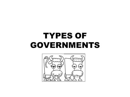 TYPES OF GOVERNMENTS. Types of Government Aristocracy: (rule of the best) Democracy: (rule of the people). Monarchy: (rule of the king) Oligarchy: (rule.