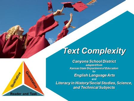 Text Complexity Canyons School District adapted from Kansas State Department of Education for English Language Arts and Literacy in History/Social Studies,