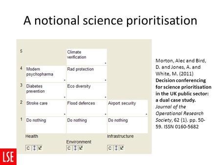 A notional science prioritisation Morton, Alec and Bird, D. and Jones, A. and White, M. (2011) Decision conferencing for science prioritisation in the.
