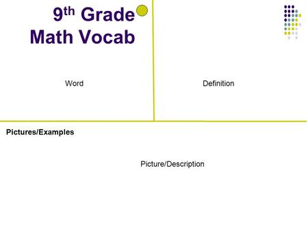 Pictures/Examples 9 th Grade Math Vocab Definition Picture/Description Word.