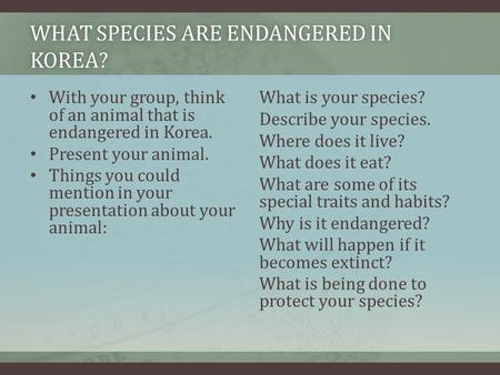 WHAT SPECIES ARE ENDANGERED IN KOREA? With your group, think of an animal that is endangered in Korea. Present your animal. Things you could mention in.