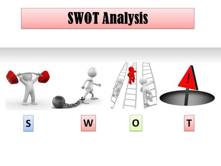 SWOT Analysis S S W W O O T T. What is SWOT? SWOT is a business or strategic planning technique used to summarise the key components of your strategic.