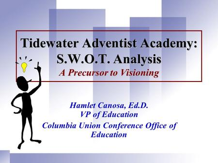 Tidewater Adventist Academy: S.W.O.T. Analysis A Precursor to Visioning Hamlet Canosa, Ed.D. VP of Education Columbia Union Conference Office of Education.