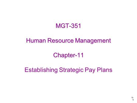1– 1 MGT-351 Human Resource Management Chapter-11 MGT-351 Human Resource Management Chapter-11 Establishing Strategic Pay Plans.
