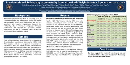 Preeclampsia and Retinopathy of prematurity in Very-Low-Birth-Weight-Infants − A population base study Hsin-Chung Huang 1, Hwai-I Yang 2, Wu-Shiun Hsieh.