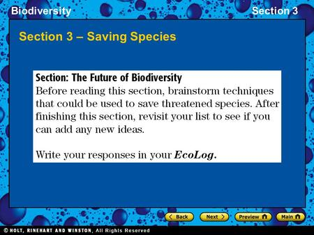 BiodiversitySection 3 Section 3 – Saving Species.