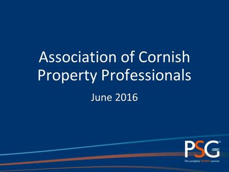 Association of Cornish Property Professionals June 2016.