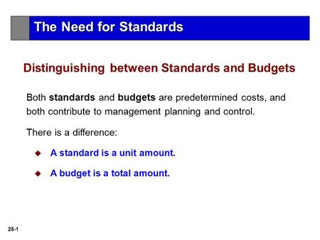 25-1 Both standards and budgets are predetermined costs, and both contribute to management planning and control. There is a difference:  A standard is.