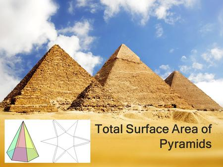 Total Surface Area of Pyramids. Recall: Definition of a Pyramid A pyramid has the following features One of the faces is a polygon base. The other slanted.