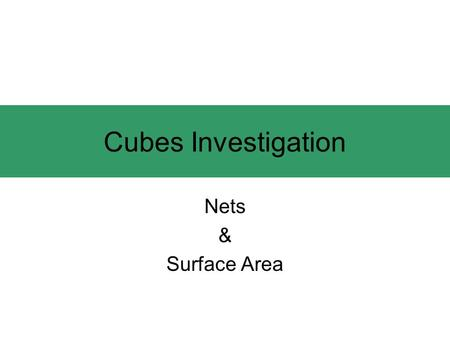 Cubes Investigation Nets & Surface Area. Cube Nets How many are there? 11.